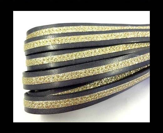 Flat Leather- With Glitter -10mm- Grey Glitter Gold