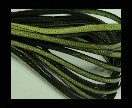 Flat Leather Cord With Wavy Stitch-5mm-Green