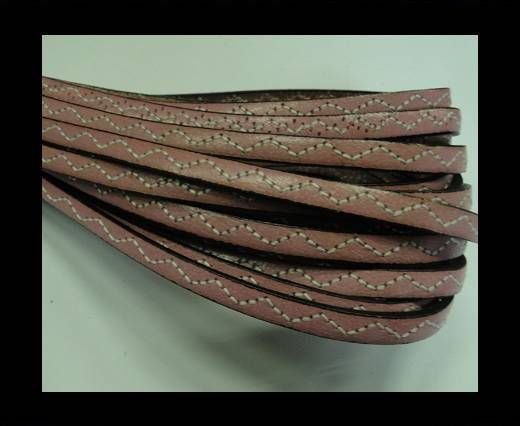 Flat Leather Cord With Wavy Stitch-5mm-Pink