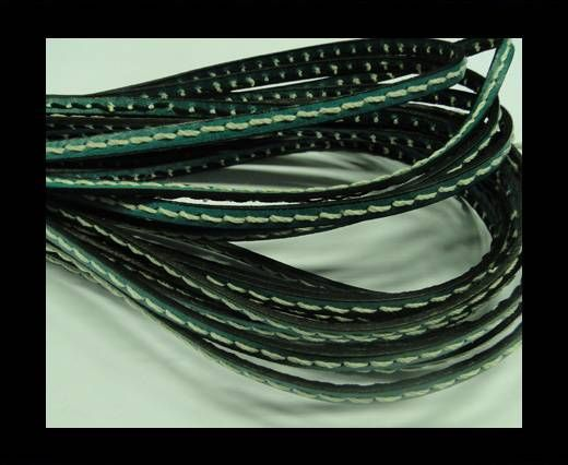Flat Leather Cord With Thick Stitch-5mm-Turqiuose