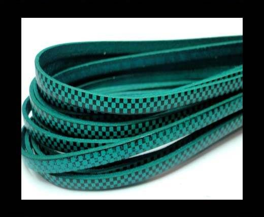 Flat Leather Cords - Chess Style - 5mm-Turchese