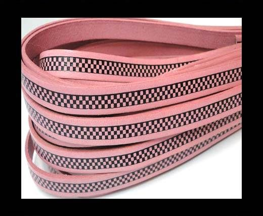 Flat Leather Cords - Chess Style - 10mm-Baby Pink