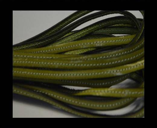 Flat leather Italian with stitch - 5 mm - Light green