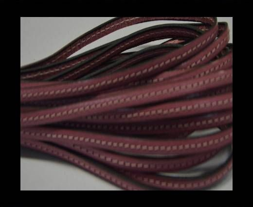 Flat leather with stitch - 5 mm - Pink