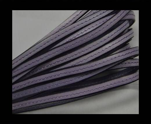 Flat leather with stitch - 5 mm - Purple