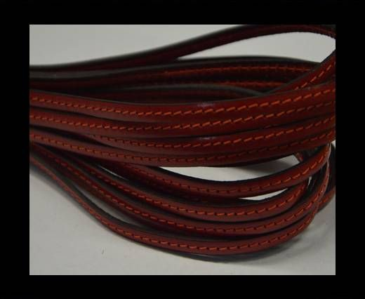Flat leather with stitch - 5 mm - Red