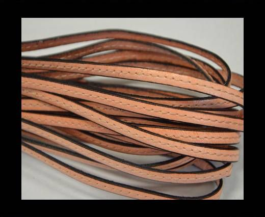 Flat leather with stitch - 5 mm - Salmon