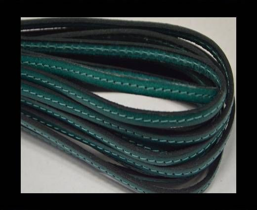 Flat leather with stitch - 5 mm - turquoise
