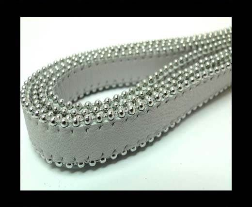 Flat Nappa Leather with Chains - 14mm -  Light Grey