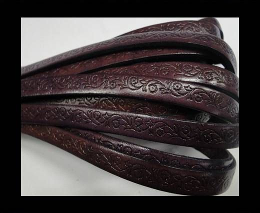 Design Embossed Leather Cord - 8mm - Floral - Purple