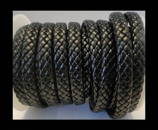 Flat Thick Braided Leather -10mm- Black