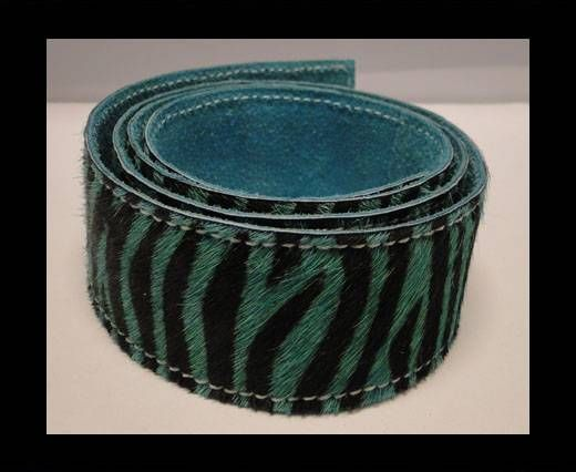 Hair-On Leather Belts-Turquoise Zebra Print-40mm
