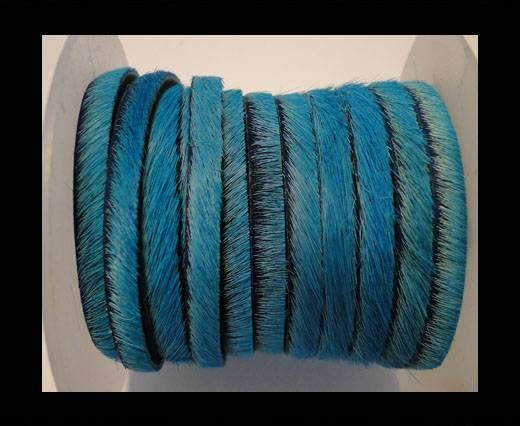 Hair-On Leather Flat-Turquoise-20mm