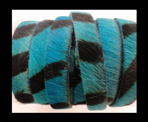 Hair-On Leather Flat-Turquoise Zebra Print-20mm