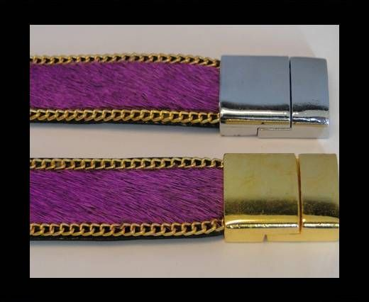 Hair-On Leather with Gold Chain-Purple