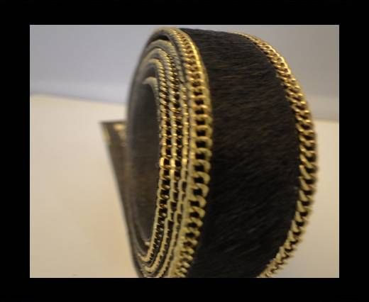 Hair-On Leather with Gold Chain-Dark Brown Golden