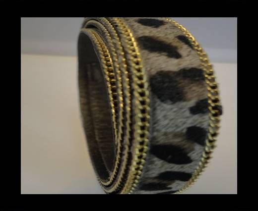 Hair-On Leather with Gold Chain-Leopard