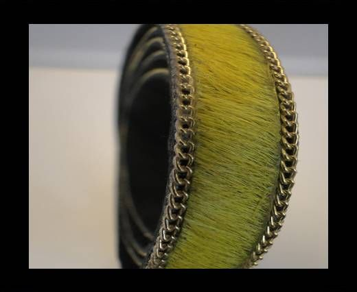 Hair-On Leather with Gold Chain-Yellow