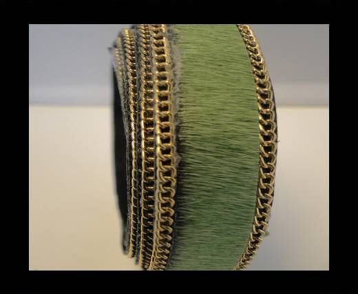 Hair-On Leather with Gold Chain-Light Green
