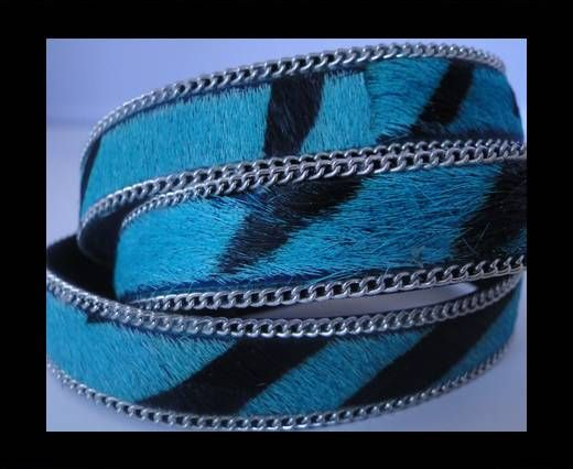 Hair-On Leather with Gold Chain-Blue Zebra