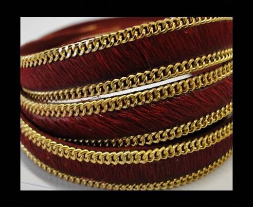 Hair-On Leather with Gold Chain 10mm-SE-Red