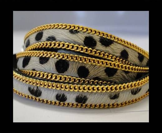 Hair-On Leather with Gold Chain 10mm-SE-White  Dalmatian