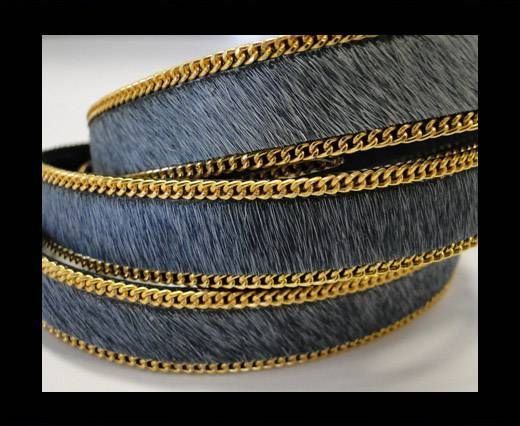 Hair-On Leather with Gold Chain-SE-Grey 14mm