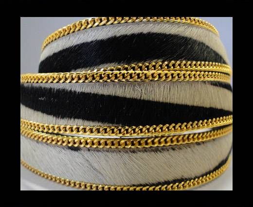 Hair-On Leather with Gold Chain-SE-Zebra-14mm