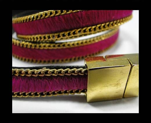 Hair-On Leather with Gold Chain- 10 mm - Fuchsia