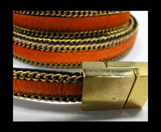 Hair-On Leather with Gold Chain-10 mm - Orange