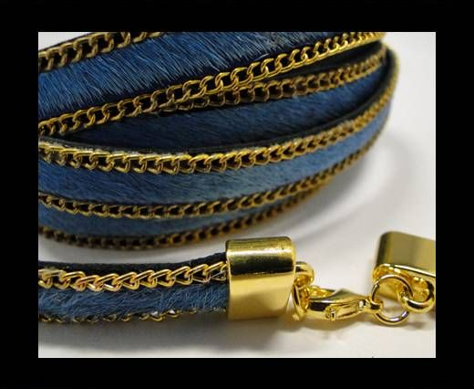 Hair-On Leather with Gold Chain-10 mm - Turquoise