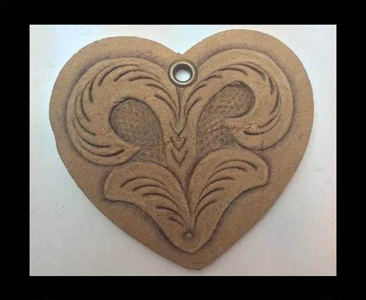 Heart 4cm - style 3 - Natural Leather Embossed