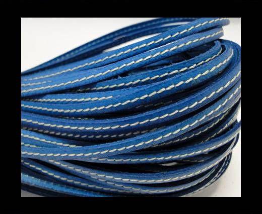 Flat Leather Italian Stitched 5mm - Bermuda Blue