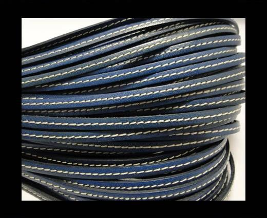 Flat Leather Stitched 5mm - Dark Blue