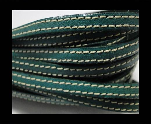 Flat Leather Italian Stitched 5mm - Green