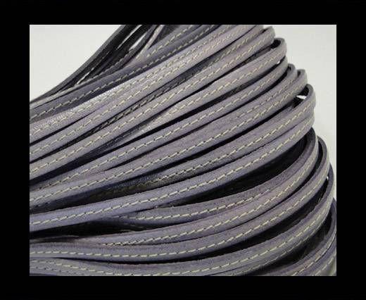 Flat Leather Italian Stitched 5mm - Light Purple