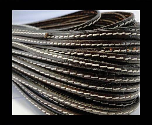 Flat Leather Stitched 5mm - Dark Brown