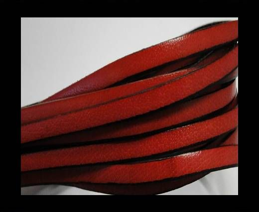 Flat leather - 5 mm - Black edges - Red