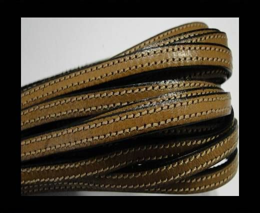 Flat leather - 5 mm - Double Stitched - Black edges - Sa
