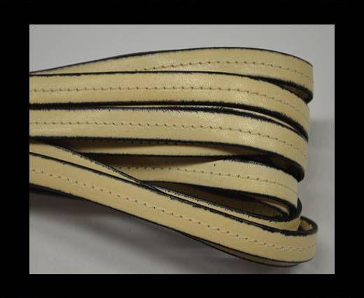 Flat Leather-Center Stitched - Black edges - Cream