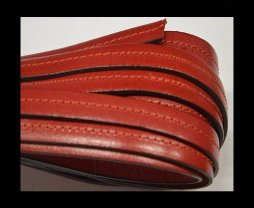 Flat Leather-Center Stitched - Black edges - Red