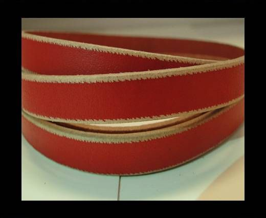 Flat Leather- Natural Edges -Red-10mm