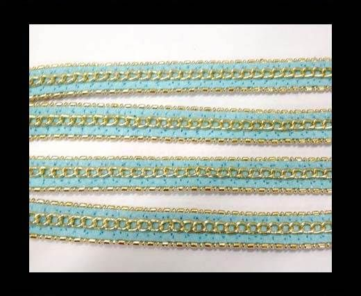Leather with 3 chains-10mm-Turquoise