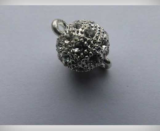 Magnetic Lock with Crystals - MG2-8mm-Silver