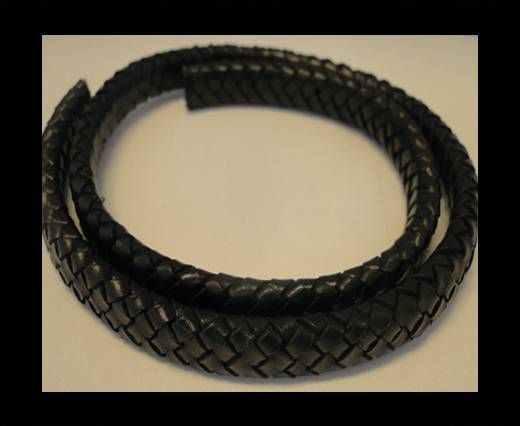 Oval Braided Leather Cord - 10mm-Olive Black