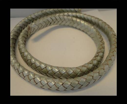 Oval Braided Leather Cord - 10mm-Metallic Olive Green