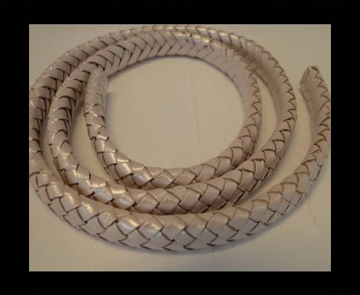 Oval Braided Leather Cord - 10mm-Metallic Salmon