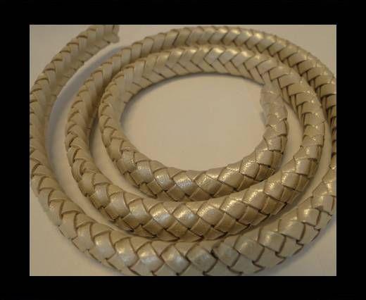 Oval Braided Leather Cord - 10mm-Metallic Sun