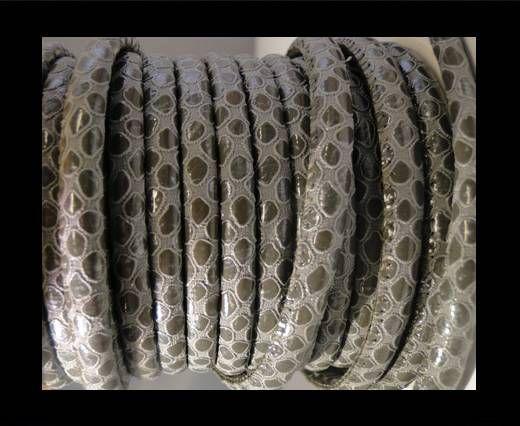 Eco-Nappa 6mm Snake-Style -Round Grey