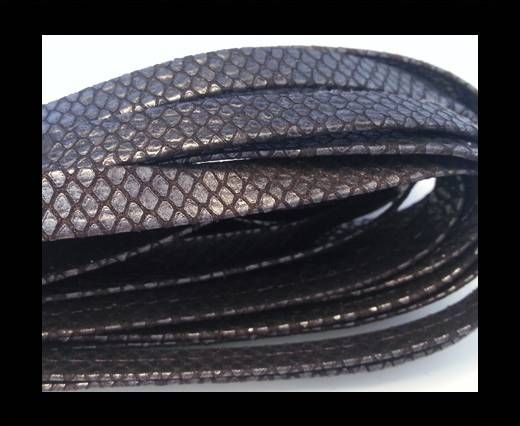 NappaFlat-Snake Style Silver Brown-10mm